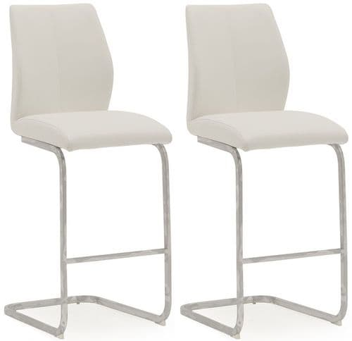 Aquileia White Faux Leather With Chrome Cantilever Design Bar Stool (Pair) 218VD380