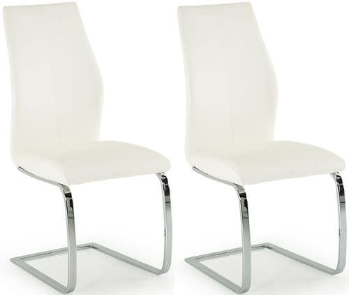 Aquileia White Faux Leather With Chrome Cantilever Design Dining Chair (Pair) 218VD387
