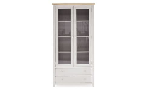 Aquino Two Tone Grey And Oak Tall Display Cabinet 218VD435