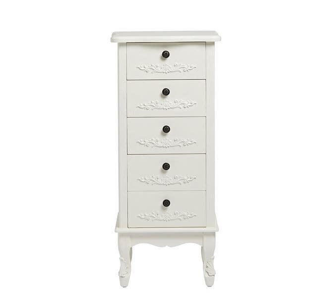 Argenteuil White Tall 5 Drawer Chest 19LD30