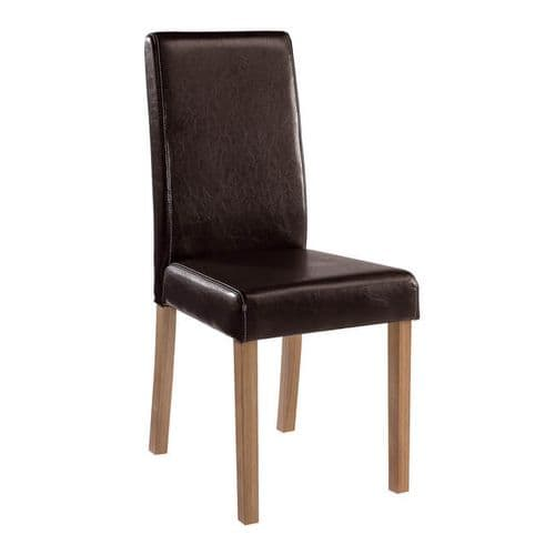 Arles Brown Faux Leather Set Of 2 Dining Chairs 21LD535