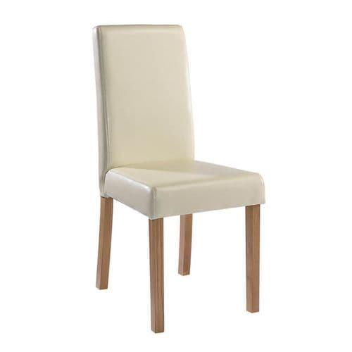 Arles Cream Faux Leather Set Of 2 Dining Chairs 21LD536