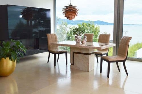 Arpino High Gloss Cream Marble Rectangle 120cm Dining Table 218VD453