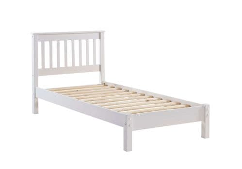 "Arrie Part Asembled Oak Veneer & White 3'0"" Slatted Lowend Bedstead AB300LE"
