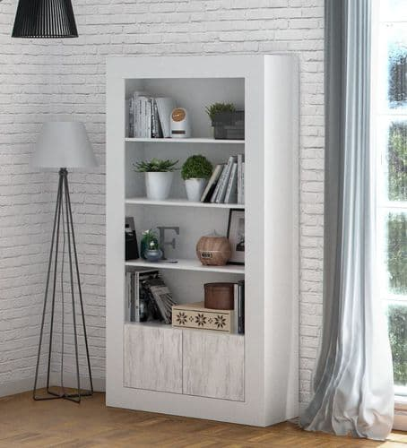Aspen Tall Bookcase in White with White Wood Effect 3076RZ