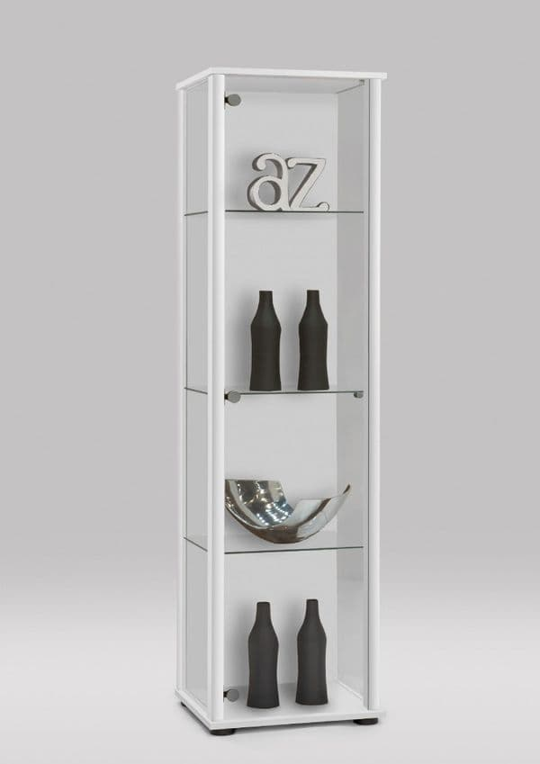 Athens Tall Narrow White Glass Showcase Display Cabinet 2973