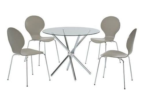Autun Glass And Chrome Dining Table 17LD347