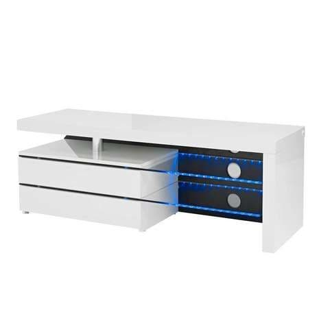 Azay White High Gloss LED Media Unit 17LD553