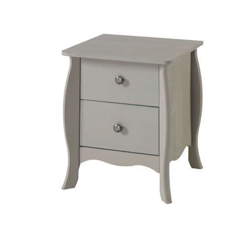 Azur Grey Washed Pine 2 Drawer Bedside Cabinet PRG510