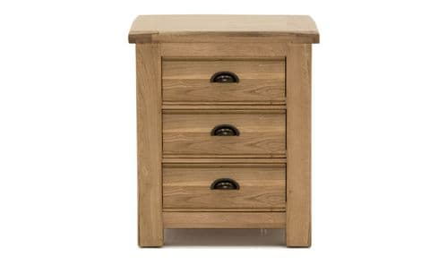 Benevento Natural Oak Veneer 3 Drawer Bedside Table18VD164
