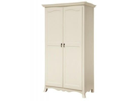 Besancon Antique White Finished 2 Door Wardrobe 17LD46