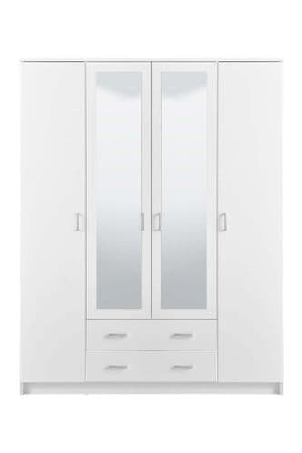 Bonn White 4 Door 2 Drawer Large Wardrobe with Mirrors