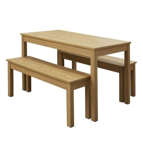 Briancon Oak Effect Dining Set With Bench Seats 19LD618