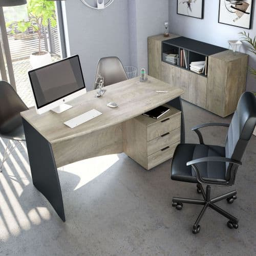 Bronte Oak and Grey Large Office Desk With Drawers 0Z4625C