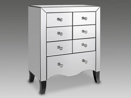 Calais Mirrored Glass Finish 7 Drawer Chest 17LD113