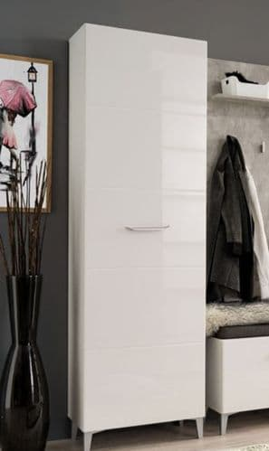 Calpa Tall Slim White Gloss Narrow Depth Wardrobe
