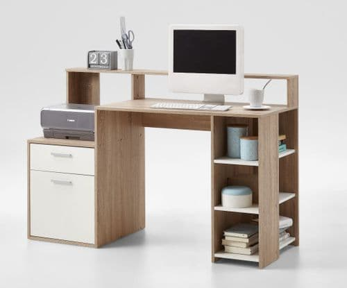 Calson White and OAK Desk with Hutch and Drawers