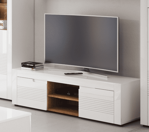 Calvino White High Gloss TV Cabinet Lounge Furniture B25