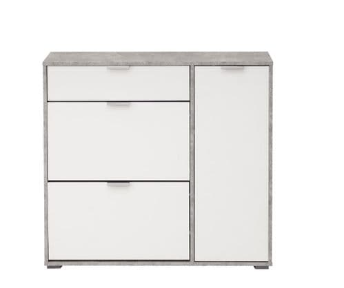 Cante Grey and White Large Shoe Cabinet With Drawer