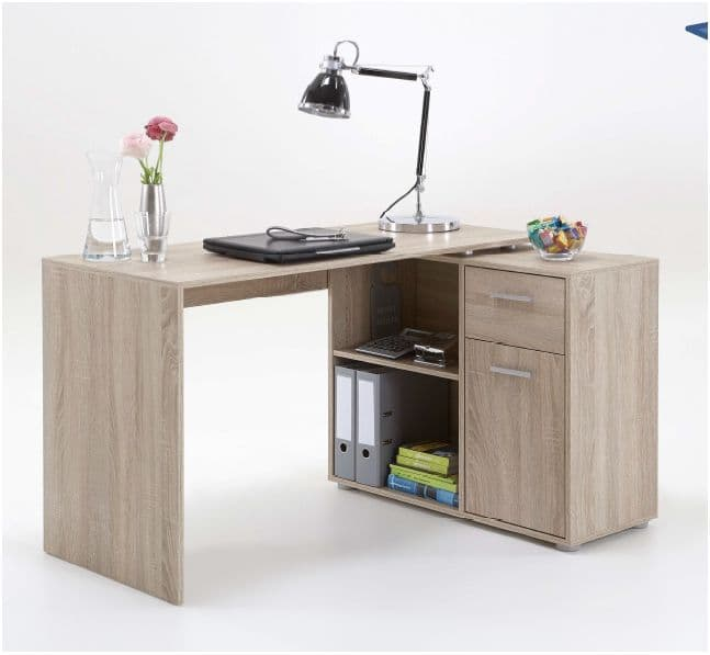 Carla Small L Shaped Corner Computer Desk Oak - furniturefactor