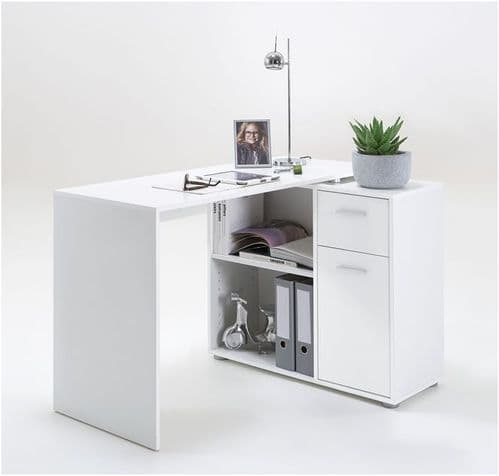 Carla Corner Flexi Desk White With Drawers 360-001WHT