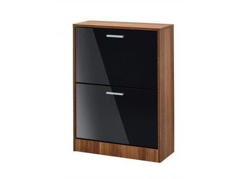Carnac 2 Door Black Gloss With Walnut Shoe Cabinet 17LD540