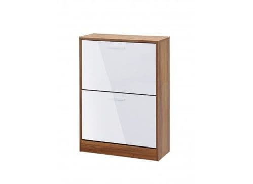 Carnac 2 Door White Gloss With Walnut Shoe Cabinet 17LD540