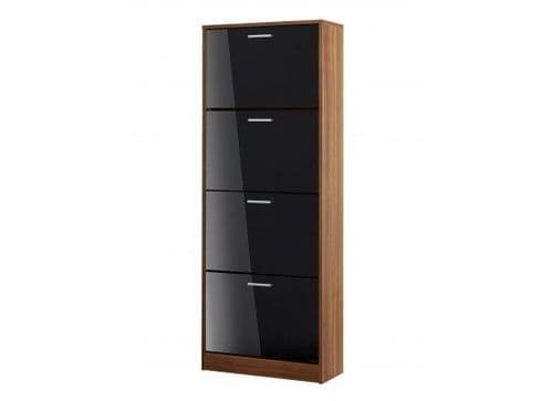 Carnac 4 Drawer Black Gloss With Walnut Shoe Cabinet 17LD541