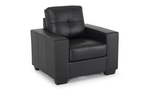 Castel Black Bonded Leather 1 Seater Sofa 218VD467