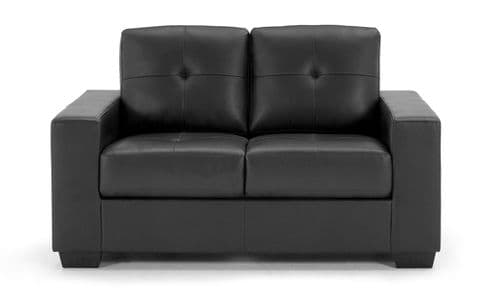 Castel Black Bonded Leather 2 Seater Sofa 218VD469