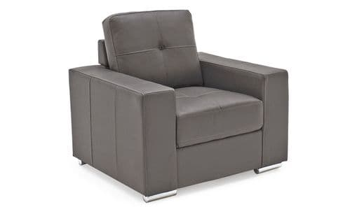 Castel Grey Bonded Leather 1 Seater Sofa 218VD468