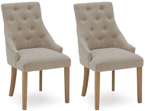 Castellana Stylish Beige Linen Dining Chair (Pair) 218VD490