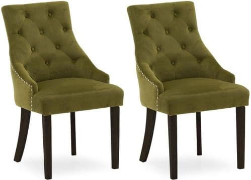 Castellana Stylish Green Moss Velvet And Wenge Dining Chair (Pair) 218VD501