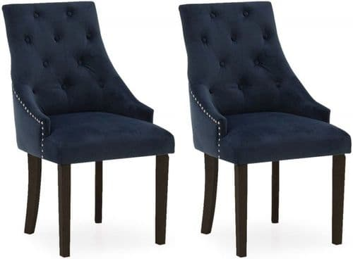 Castellana Stylish Midnight Blue Velvet And Wenge Dining Chair (Pair) 218VD497