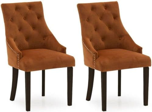 Castellana Stylish Pumpkin Velvet And Wenge Dining Chair (Pair) 218VD503