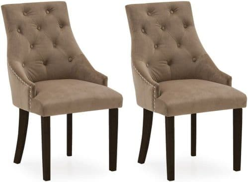 Castellana Stylish Velvet Cedar And Wenge Dining Chair (Pair) 218VD493