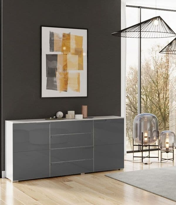 Cellini Large Grey Gloss Sideboard by FurnitureFactor.co.uk