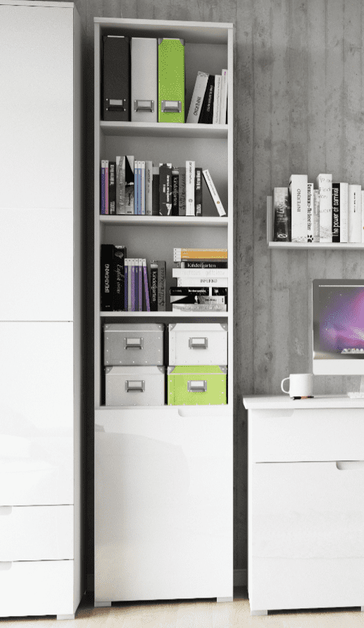 Cellini White High Gloss Bookcase with Gloss Door - Storage shelves S12