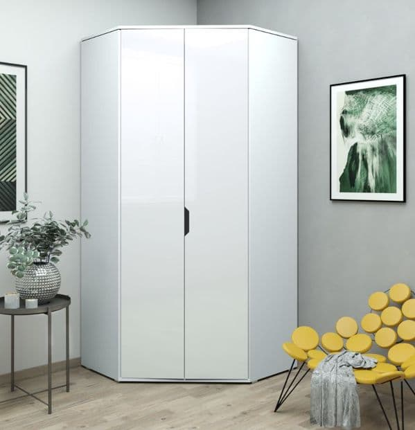 Cellini White High Gloss Corner Wardrobe - SALE