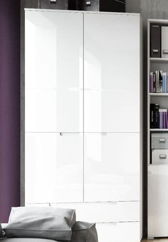Cellini White High Gloss 2 Door 2 Drawer Wardrobe S28