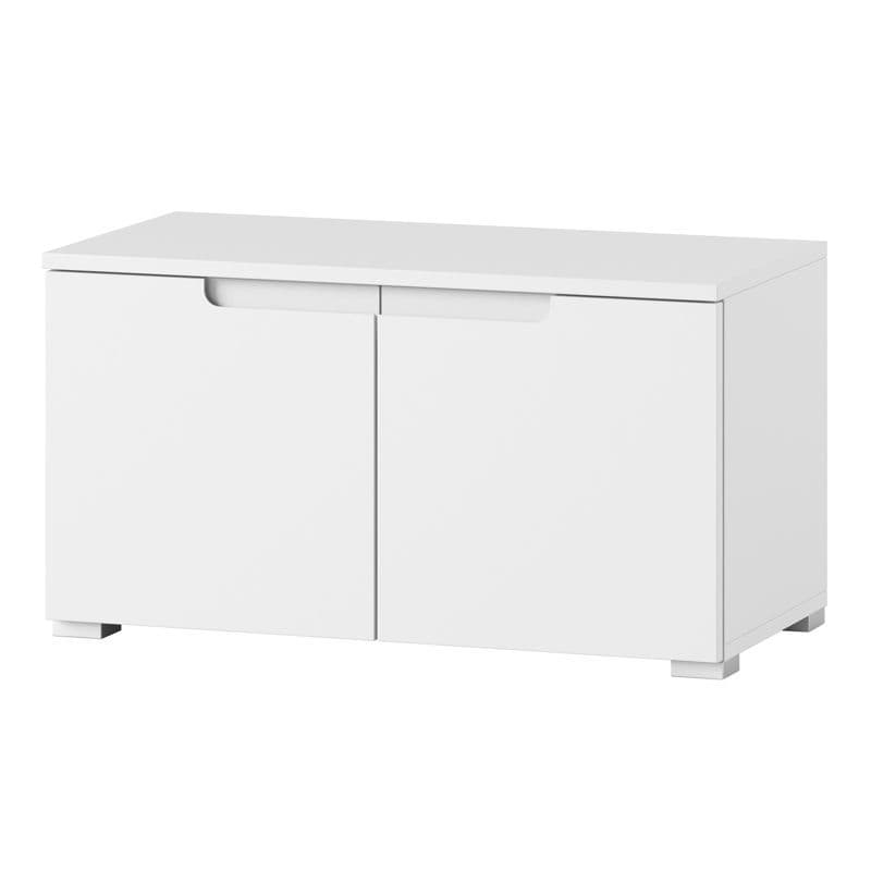 Cellini White High Gloss 2 Door Low Hallway Storage Cupboard  S18
