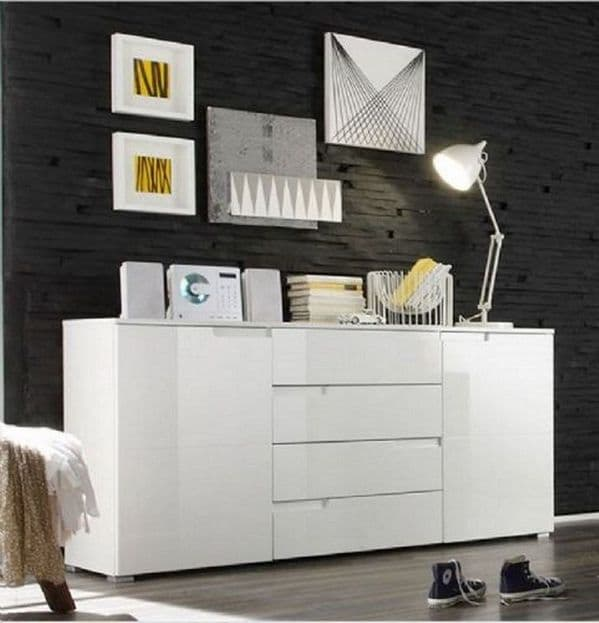 Modern Large White Gloss Sideboard by FurnitureFactor.co.uk