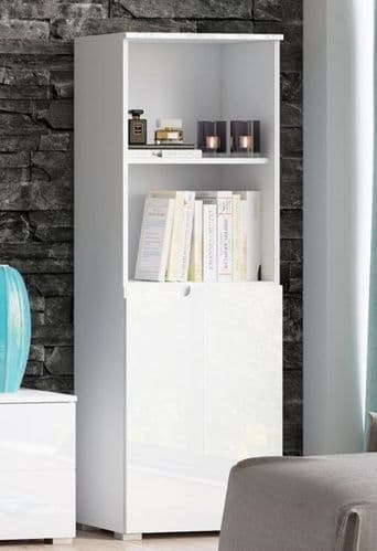 Cellini White High Gloss Short Narrow Bookcase With 1 Door S10