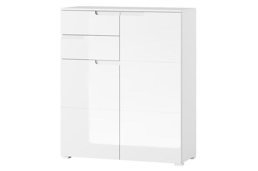 Cellini White High Gloss Tall 2 Drawer 2 Door Sideboard Storage Unit S7