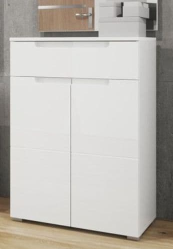 Cellini White High Gloss Tall Sideboard Storage Unit S19