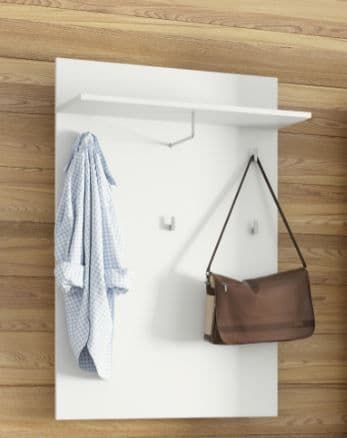 Cellini White High Gloss Wall Mounted Hallway Coat Rack With 1 Shelf S20