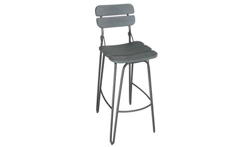 Cento Industrial Style Grey Elm Wood And Steel Bar Stool 218VD332