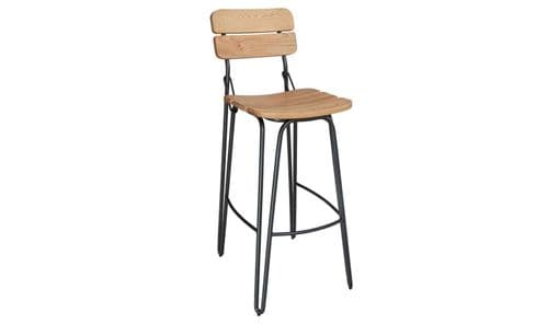 Cento Industrial Style Natural Elm Wood And Steel Bar Stool 218VD333
