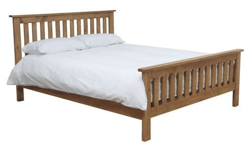 Cesena Natural Solid Pine Honey Lacquered Finish Small Double Bed 218VD337
