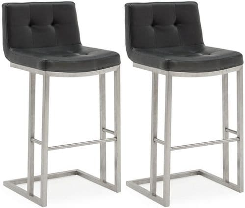 Cividale Industrial Style Black PU Leather With Brushed Metal Bar Stool  218VD389